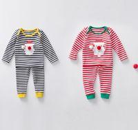 Wholesale Boys 24 Months Pajamas - kids christmas sleepwear children clothing boys suits girls cotton deer stripe tops pants pajamas santas little helper sleepwear sets A7637