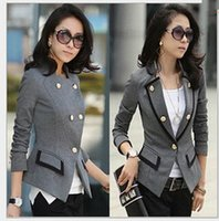 Wholesale New Korean Female Suit Jacket Women Double Breasted Short Coat Office Ladies Black Grey Big size