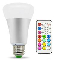 ferngesteuerte zeitschaltuhr großhandel-10W A19 Dimmable RGBW Birne Timing Fernbedienung Farbwechsel LED Glühbirnen, Doppel-Speicher-und Wandschalter Kontrolle Lampe