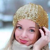 schwarze paillettenhüte großhandel-Großhandels-Frauen-Dame Stretch Shining Sequin Beret Hat Party Stage Beanies Caps Gold Schwarz Rot