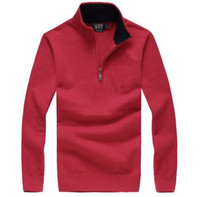 Wholesale Pink Cashmere Sweaters - 2017 Hot Popular Golf Pony men sweater US Embroidery Horse Casual zipper Sweater Custom made Winter Male Jumpers M~2XL