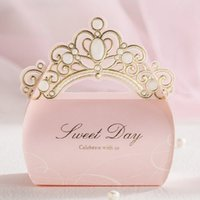Atacado- 50 Pieces, Pink Gold Shiny Crown Wedding Candy Favor Boxes, Por Wishmade, CB6072
