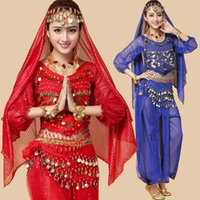 Wholesale Belly Dancer Wholesale - 2016 Women Dancing Clothing 4Piece Bellydance Costumes Bollywood Indian Competition Belly Dancewear Belli Dancer Plus Size
