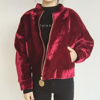 Wholesale Padded Shoulders Ladies Jackets - Wholesale- Women Wine Red Bomber Jacket Ladies Pleuche Short Jackets Oversize Drop Shoulder 2017 Autumn & Winter Padded Coat Stand Collar