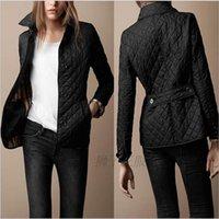 parka montları kadın dış giyim toptan satış-Kadın Ceketler Düz Sonbahar Pamuk Ceket Yastıklı bayan Casual Kaban Ceket Moda kadın Giyim Ekose Kapitone Yastıklı Parkas