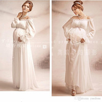 Wholesale Chiffon Pleated Gauze Dress - Free size Lace Free Size Maternity Dresses Two Layer Gauze Photography Props Pregnant Women Long Dress Elegant Pregnancy Clothes White