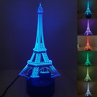 Atacado- 7 cores brilhantes LED Night Light Ilusão 3D Torre Eiffel lâmpada de mesa Creative Home Decor Touch Switch USB Novidade Light Venda quente