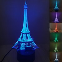 Wholesale 3d Eiffel Tower Decor - Wholesale- 7 Glowing Colors LED Night Light 3D Illusion Eiffel Tower Table Lamp Creative Home Decor Touch Switch USB Novelty Light Hot Sale