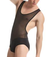 b1680aeba9 Sexy Nylon sheer Men s Fitness Conjoined Vest mesh Thin Transparent Body  Shaper Men Underwear Male Bodysuits Jumpsuits