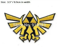 """Wholesale wholesale iron princess patches - 3.5"""" Zelda Princess Triforce Gold Patch tv movie game series Embroidered Iron On Badge cosplay Halloween Costume party favor diy"""