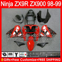 Wholesale 98 kawasaki ninja zx9r fairings - 8Gifts 23Colors For KAWASAKI NINJA ZX 9 R ZX9R 98 99 00 01 900CC RED BLACK 48HM9 ZX 9R ZX900 ZX900C ZX-9R 1998 1999 2000 2001 Fairing kit