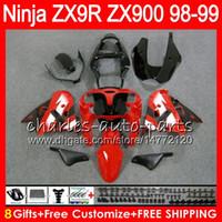 carénage zx9r 98 99 achat en gros de-8Carts 23Colors Pour KAWASAKI NINJA ZX 9R ZX9R 98 99 00 01 900CC ROUGE NOIR 48HM9 ZX 9R ZX900 ZX900C ZX-9R 1998 1999 2000 2001 Kit de carénage