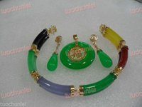 Wholesale Necklace Earring Bracelet Set Jade - free shipping >Beautiful Multicolor Jade Link Bracelet Green Jade pendant Necklace Earring set no box