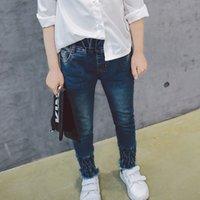 Wholesale Skinny Jeans Korean Style - Children Clothes Fashion Wholesale 2017 Korean Spring Autumn New Girls Denim Jeans Toddler kids Sale Leggings blue Skinny Trouser pants A128