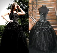 Wholesale victorian halloween ball gown - 2017 Newest Designer Gothic Black Wedding Dresses Sexy Backless Applique Beads Corset Queen Victorian Halloween Party Bridal Gowns Plus Size