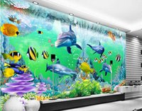 Wholesale Wall Paint Fish - 3d room wallpaper custom photo non-woven mural ocean corals dolphin fish decoration painting 3d wall murals wallpaper for walls 3 d