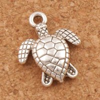 Wholesale Sea Turtle Necklace Pendant - Sea Turtles Tortoise Charms Pendants 200Pcs lot 12x15mm Ancient Silver Jewelry Findings Components Jewelry DIY Fit Necklace Bracelets L1176