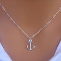 Wholesale anchor pendants - Wholesale-Hot Fashion New Women Simple Design Cute Silver Anchor Pendant Necklace Jewelry P1254