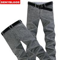 Wholesale Mens Casual Business Jeans - Wholesale- Plus Size 28-40 42 44 46 Mens Darked Wash Jeans Linen Cotton Straight Pants Thin Causal Pants Men Business Chinos Pants 996