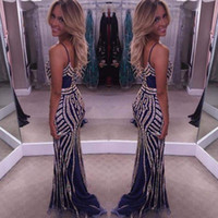 Wholesale Spaghetti Strap Nude Sequin Dress - 2017 New Sexy Fitted Mermaid Evening Dresses Sweetheart Spaghetti Straps Blinbgbling Sequins Vestidos De Fiesta Prom Party Gowns