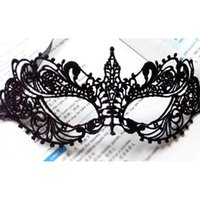 Wholesale Masque Eye - Wholesale- 2Pcs Halloween Sexy Lady Black Lace Mask Cutout Eye Mask For Masquerade Party Fancy Costume Venetian Carnival Masque Sexy Mask