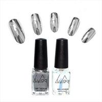 Wholesale Metal Art Effects - Wholesale- 2pc lot 6ml Silver Mirror Effect Metal Nail Polish Varnish Top Coat Metallic Nails Art Tips nail polish set