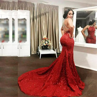 Wholesale dres fashion red - Sexy Red African Mermaid Evening Gowns Lace Sequined Beading Formal Cocktail Party Dres Long Trumpet Jewel Neck Vestidos Prom Dresses Long