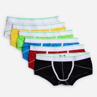 Wholesale Underwear Pretty - Hot-selling 2017 New Arrived Style Men's underwear Briefs Bright colors with white Line Personality Design Pretty thin ice silk feeling