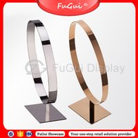 Wholesale Display Circle Leather Belts Stainless Steel Stand Rosy gold Glossy Racks Overhead Design P004S Fugui Showcase