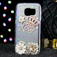 Wholesale Crown Mobile Phone Case - 20PCS For Samsung s7 s7edeg s8 s8plus s6 s6edge s4 NOTE 5 NOTE 4 NOTE 3 Crown Petal Mobile phone Case fashion creative diamond