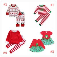 Wholesale Toddler Wholesale Pajamas - Baby Christmas Boutique Clothes Sleepwear Pajamas Red Clothing Suit Toddler Unisex Snow Xmas Outfit Girl Fancy Dress Tree Christmas Costume