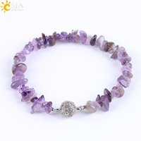 Wholesale Gemstone Chips Strands - CSJA Fashion Brand Meditation Healing Crystal Gemstone Chips Beaded Bracelets Women Natural Stone Beach Jewelry Amethyst Snap Bracelet E591