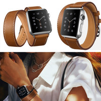 Wholesale Double Tour - New Genuine Leather Band Double Tour Bracelet Leather Watchband For Apple Watch