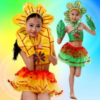 Wholesale Chinese Clothing For Children - Hot children sunflower performance costumes Princess princess skirt Chinese traditional clothing children skirt for free shopping