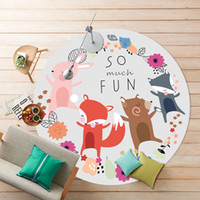 Cartoon Soft Fabric Round Kids Play Mats Crianças Baby Bedroom Living Room Parlor Sofa Tablet Floor Mats Home Decorative Area Carpet