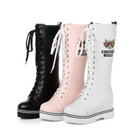 Wholesale Height Increasing Motorcycle Boots - 2018 new Women Knee Boots Round Toe Height Increasing Ladies Shoes lace-up Female Footwear size33-43