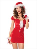 Sexy Erotic Cosplay Nightdress Donne uniforme Cosplay Donne Costumi Sexy Donne Lady Halloween Party Dress Rosso con cappello
