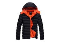 Wholesale Long Male Winter Coats - Fashion Man Padded Jacket Men's Solid Colour Hooded Autumn Warm Outwear Male Regular Length Winter Slim Coats