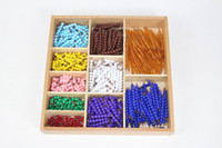 Wholesale Early Boxing - Wholesale- Baby Toy Montessori Math 9 Colors Beads Bead Decanomial with Box Early Childhood Education Preschool Training Learning