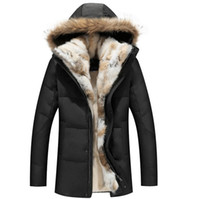 Wholesale mens winter snow coats - Winter Down Jackets Mens Fur Coat Hoodies Thick Warm outwear Overcoat Snow Clothes Real Raccoon Fur Collar Rabbit Fur Linner S-5XL New