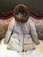 Wholesale Big Hats Feathers - 2017 winter fashion duck down jacket jacket big hair collar hat good quality lady jacket