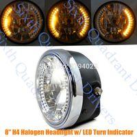 "Wholesale Honda Fit Custom - Motorcycle Custom 8"" H4 Hi Low Halogen Headlight w  Amber LED Turn Indicator Fits For Harley Honda Cafe Racer Bobber"