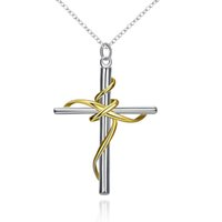Wholesale Sterling Silver Fashion Jewerly - Fashion Jewerly 925 Sterling Silver Plated Elegant Classic Cross Pendant Necklace Twisted Rope Cross Charms Women Accessories New Year Gift