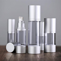 Wholesale Emulsion Bottle - 30ml 50ml Empty Airless Perfume Bottle Cosmetic Vacuum Flask Silver Pump Bottle 10ML 20ML Emulsion Bottle Essence Vials F2017660
