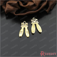 Wholesale Ballet Shoes Charms Pendants - Wholesale-(24622-G)10PCS 20*12MM Alloy Gold Color Ballet Shoes Charms Pendants Diy Jewelry Findings Accessories Wholesale Free Shipping