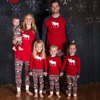 Wholesale Pajama Years - Family Christmas Pajamas New Year Mother Daughter Outfits Family Matching Clothes Sleepwear Red Cotton Pajama Set Family Look