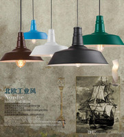 Wholesale Painted Toms - loft American style led industrial pendant lights vintage restaurant chandelier iron multi-colored painted E27 Edison bulb home lamp
