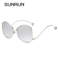 Wholesale Curved Sunglasses - Wholesale-SUNRUN Women Sunglasses Stylish Steel Ball Metal Optical Frame Curved Legs Over Size Eyewear oculos lentes de sol mujer 2369