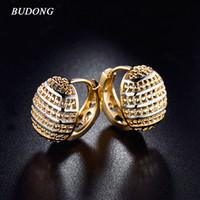 Wholesale Half Hoop Earrings - Wholesale- BUDONG 3 colors Hoop Earing Rose Gold-Color Hoop Earring Basket Shaped Half Ball Wedding Party Hoop Earings for Women XUE401