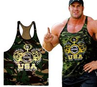 Wholesale Clothes Printing Equipment - Hight quality New Gym clothing Singlets Camouflage Tank Tops Shirt Bodybuilding Equipment Fitness Men's Golds Gym Stringer WAIBO BEAR
